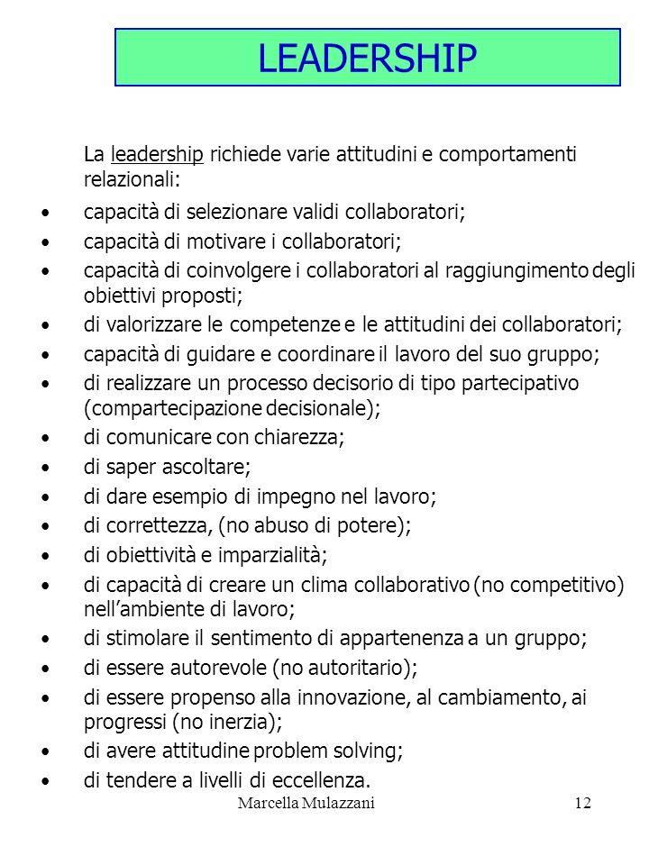 Marcella Mulazzani12 LEADERSHIP La leadership richiede varie attitudini e comportamenti relazionali: capacità di selezionare validi collaboratori; cap
