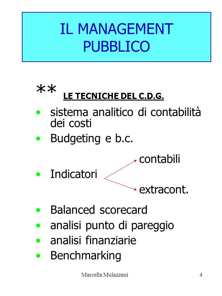 Marcella Mulazzani4 IL MANAGEMENT PUBBLICO ** LE TECNICHE DEL C.D.G. sistema analitico di contabilità dei costi Budgeting e b.c. contabili Indicatori