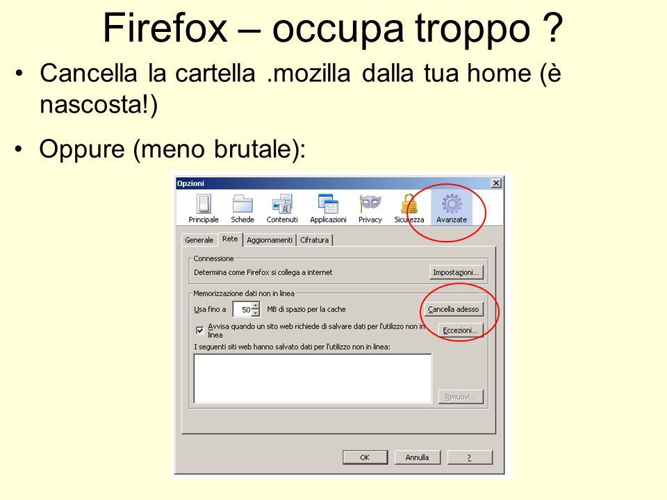 Firefox – occupa troppo ? Cancella la cartella.mozilla dalla tua home (è nascosta!) Oppure (meno brutale):