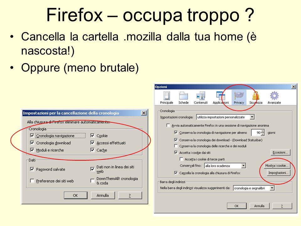 Firefox – occupa troppo ? Cancella la cartella.mozilla dalla tua home (è nascosta!) Oppure (meno brutale)