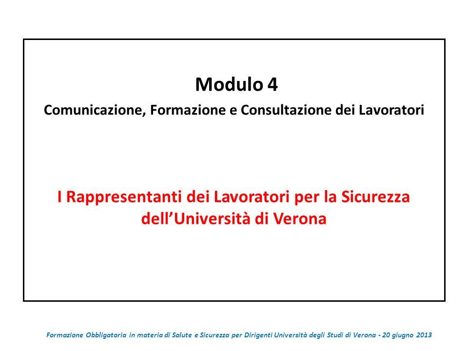 Modulo 4 Comunicazione, Formazione e Consultazione dei Lavoratori I Rappresentanti dei Lavoratori per la Sicurezza dellUniversità di Verona Formazione Obbligatoria in materia di Salute e Sicurezza per Dirigenti Università degli Studi di Verona - 20 giugno 2013