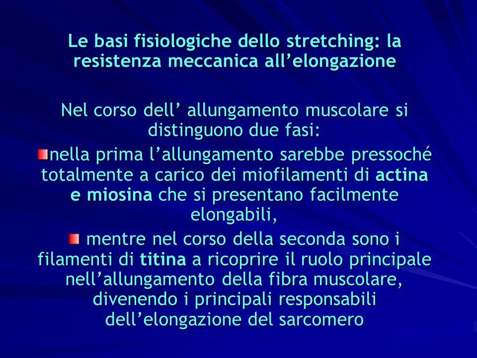 Le basi fisiologiche dello stretching: la resistenza meccanica allelongazione Nel corso dell allungamento muscolare si distinguono due fasi: nella pri