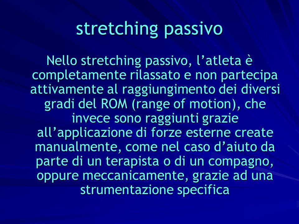 stretching passivo Nello stretching passivo, latleta è completamente rilassato e non partecipa attivamente al raggiungimento dei diversi gradi del ROM