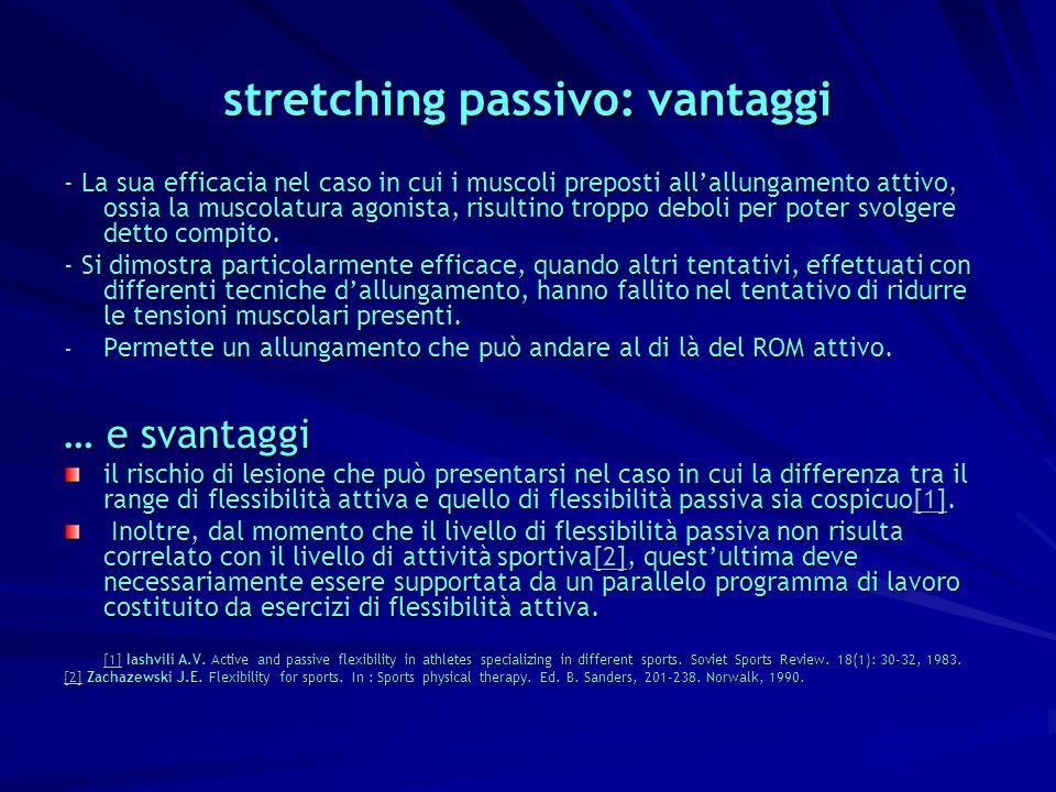 stretching passivo: vantaggi - La sua efficacia nel caso in cui i muscoli preposti allallungamento attivo, ossia la muscolatura agonista, risultino tr