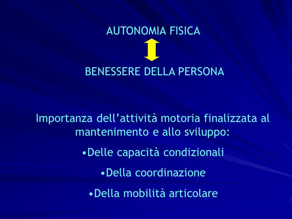 AUTONOMIA FISICA BENESSERE DELLA PERSONA Importanza dellattività motoria finalizzata al mantenimento e allo sviluppo: Delle capacità condizionali Dell