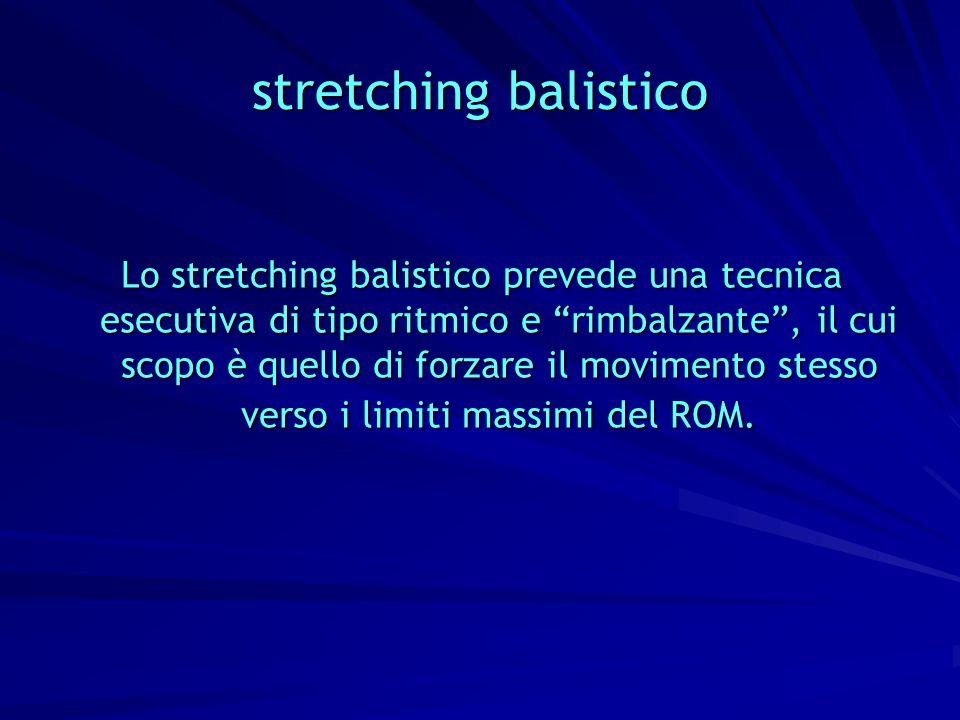 stretching balistico Lo stretching balistico prevede una tecnica esecutiva di tipo ritmico e rimbalzante, il cui scopo è quello di forzare il moviment