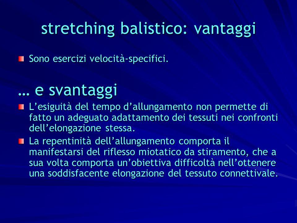 stretching balistico: vantaggi Sono esercizi velocità-specifici. … e svantaggi Lesiguità del tempo dallungamento non permette di fatto un adeguato ada