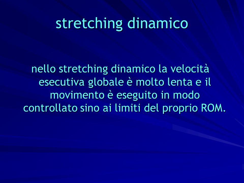 stretching dinamico nello stretching dinamico la velocità esecutiva globale è molto lenta e il movimento è eseguito in modo controllato sino ai limiti