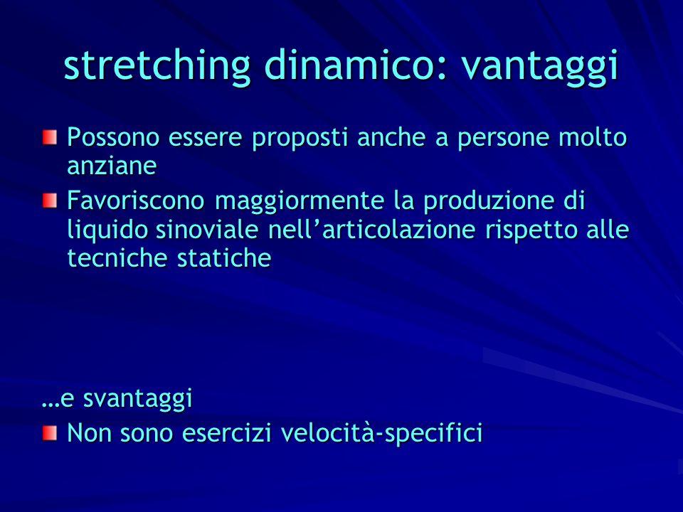stretching dinamico: vantaggi Possono essere proposti anche a persone molto anziane Favoriscono maggiormente la produzione di liquido sinoviale nellar