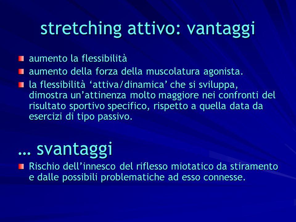 stretching attivo: vantaggi aumento la flessibilità aumento della forza della muscolatura agonista. la flessibilità attiva/dinamica che si sviluppa, d