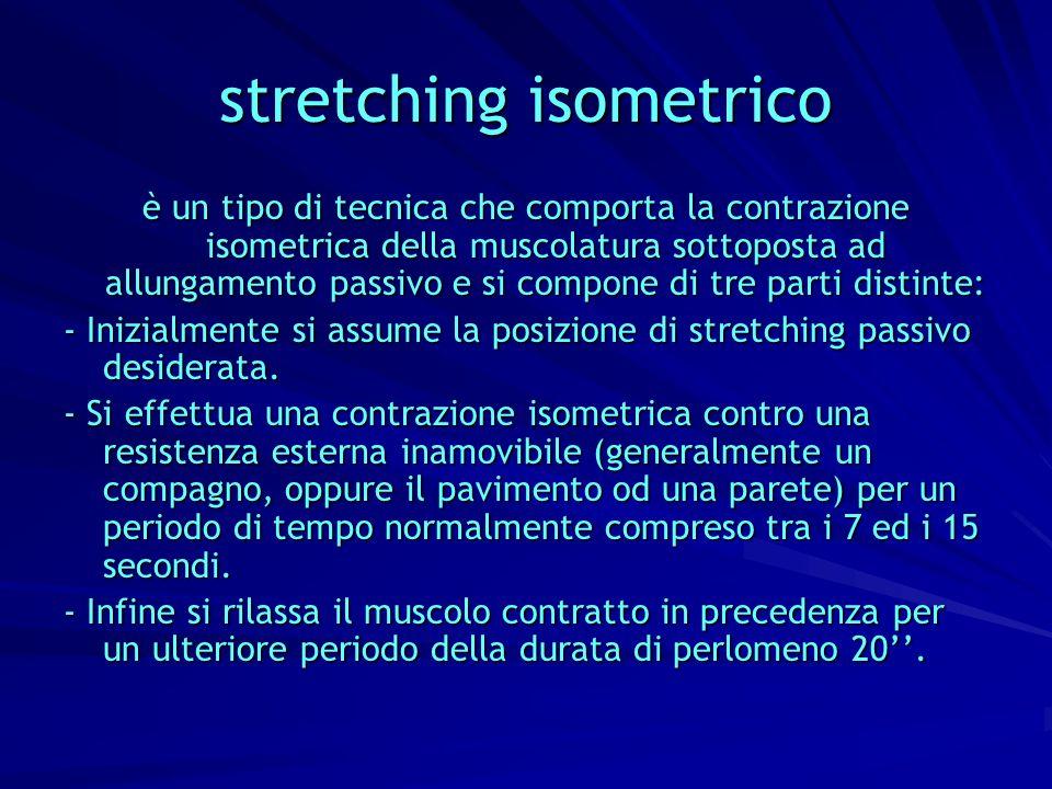 stretching isometrico è un tipo di tecnica che comporta la contrazione isometrica della muscolatura sottoposta ad allungamento passivo e si compone di
