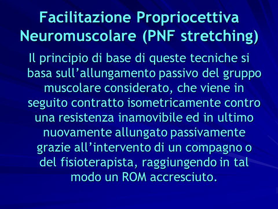 Facilitazione Propriocettiva Neuromuscolare (PNF stretching) Il principio di base di queste tecniche si basa sullallungamento passivo del gruppo musco