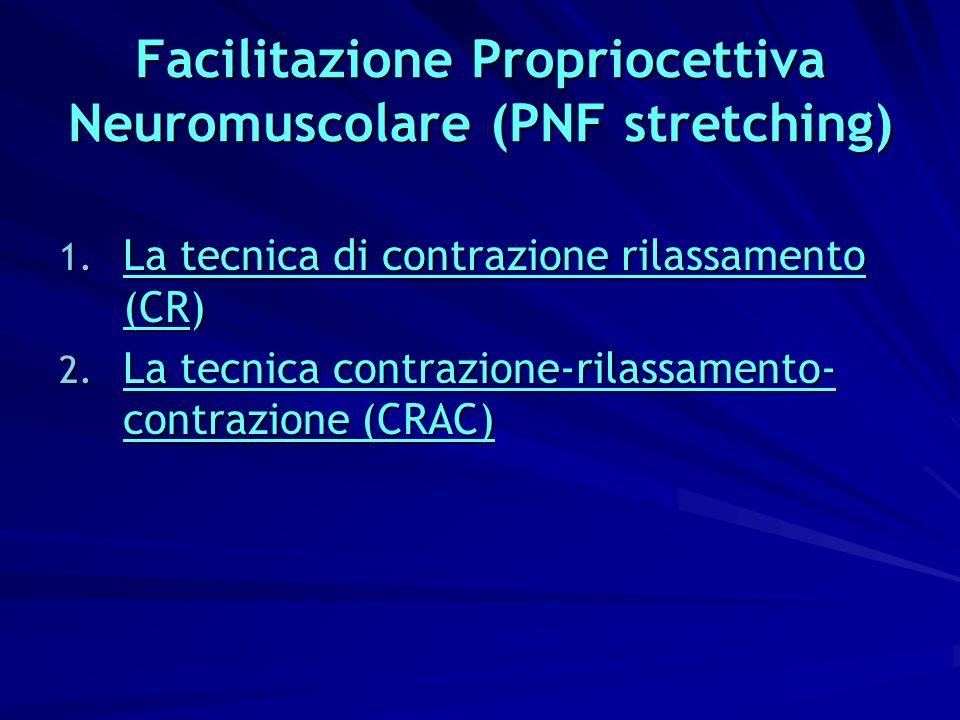 Facilitazione Propriocettiva Neuromuscolare (PNF stretching) 1. La tecnica di contrazione rilassamento (CR) 2. La tecnica contrazione-rilassamento- co