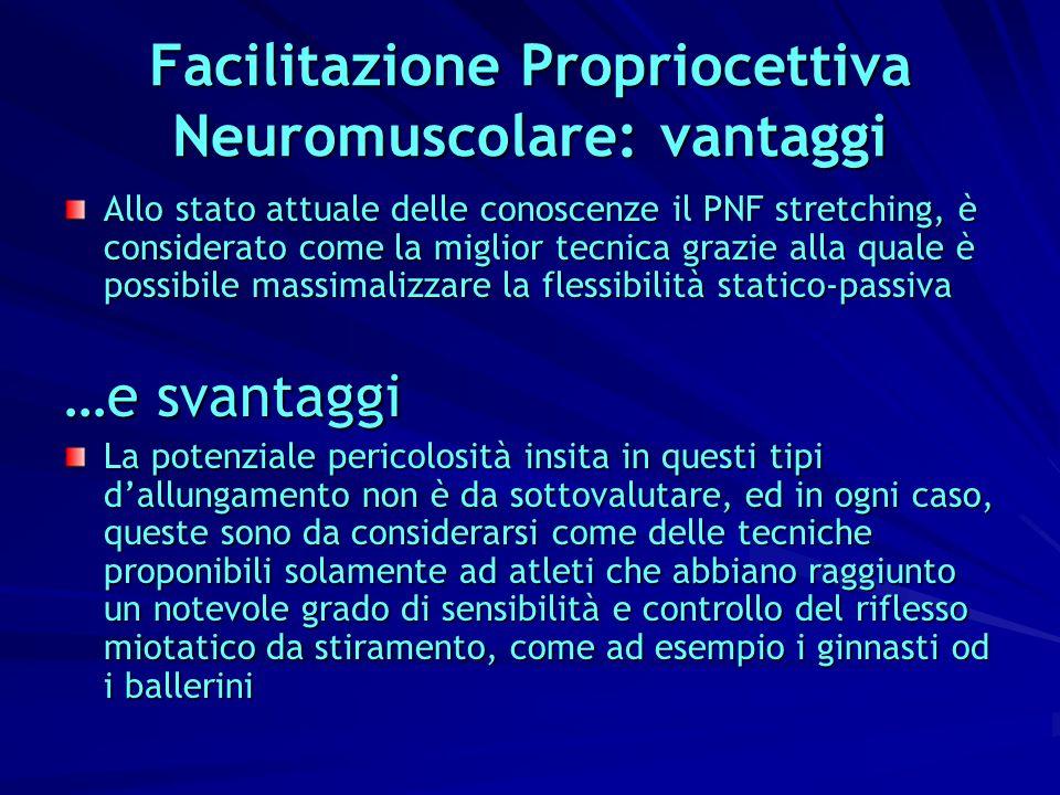 Facilitazione Propriocettiva Neuromuscolare: vantaggi Allo stato attuale delle conoscenze il PNF stretching, è considerato come la miglior tecnica gra