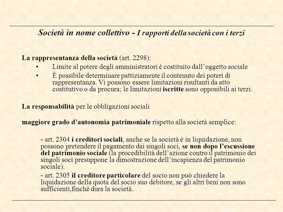 Società in nome collettivo - I rapporti della società con i terzi La rappresentanza della società (art. 2298): Limite al potere degli amministratori è