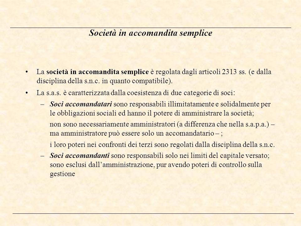 Società in accomandita semplice La società in accomandita semplice è regolata dagli articoli 2313 ss. (e dalla disciplina della s.n.c. in quanto compa
