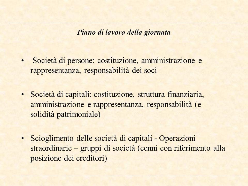 Piano di lavoro della giornata Società di persone: costituzione, amministrazione e rappresentanza, responsabilità dei soci Società di capitali: costit