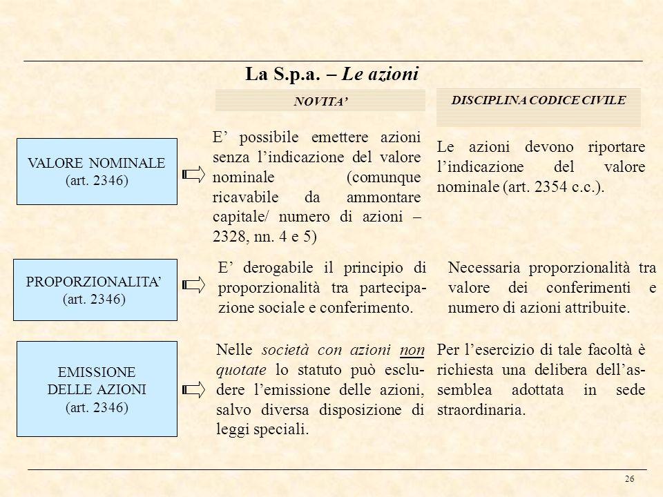 26 La S.p.a. – Le azioni VALORE NOMINALE (art. 2346) NOVITA DISCIPLINA CODICE CIVILE E possibile emettere azioni senza lindicazione del valore nominal