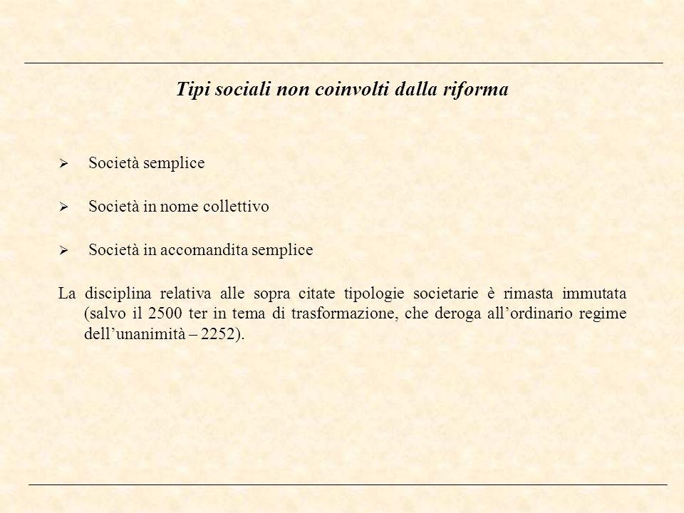 Tipi sociali non coinvolti dalla riforma Società semplice Società in nome collettivo Società in accomandita semplice La disciplina relativa alle sopra