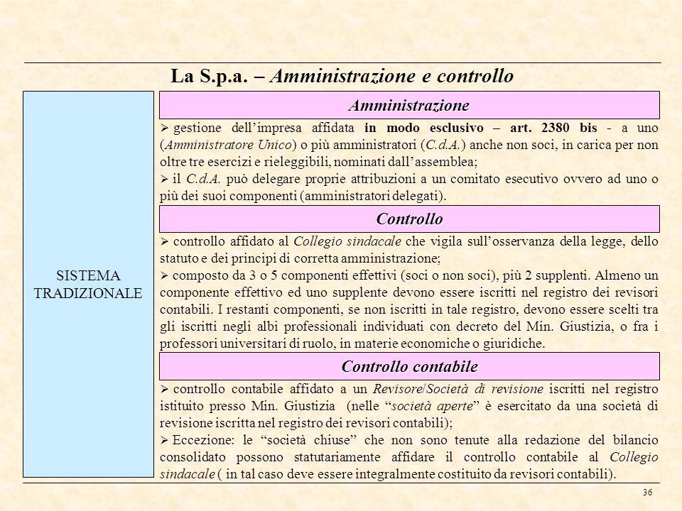 36 La S.p.a. – Amministrazione e controllo SISTEMA TRADIZIONALE Controllo Controllo contabile gestione dellimpresa affidata in modo esclusivo – art. 2