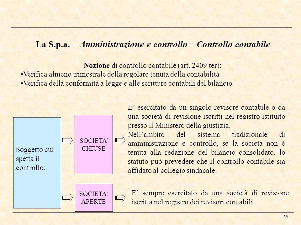 39 Soggetto cui spetta il controllo: SOCIETA APERTE SOCIETA CHIUSE E esercitato da un singolo revisore contabile o da una società di revisione iscritt