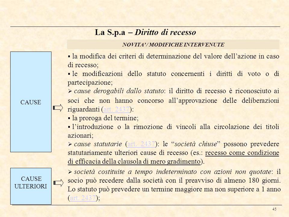 45 La S.p.a – Diritto di recesso NOVITA / MODIFICHE INTERVENUTE CAUSE la modifica dei criteri di determinazione del valore dellazione in caso di reces
