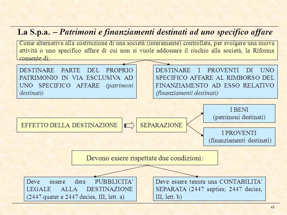 48 La S.p.a. – Patrimoni e finanziamenti destinati ad uno specifico affare Come alternativa alla costituzione di una società (interamente) controllata