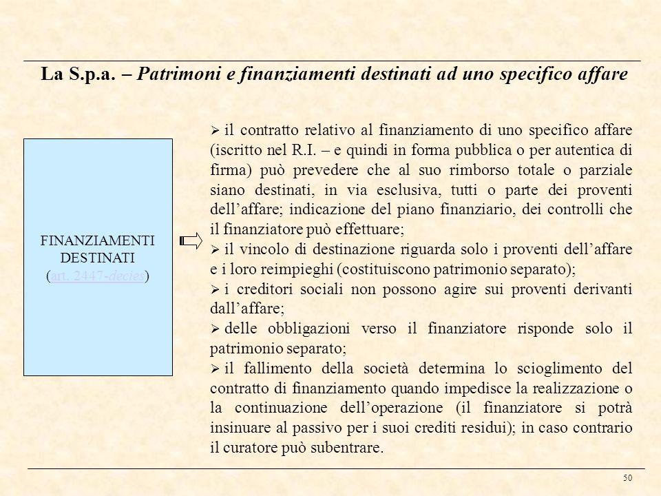 50 La S.p.a. – Patrimoni e finanziamenti destinati ad uno specifico affare FINANZIAMENTI DESTINATI (art. 2447-decies)art. 2447-decies il contratto rel