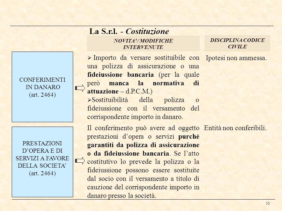 53 La S.r.l. - Costituzione DISCIPLINA CODICE CIVILE NOVITA / MODIFICHE INTERVENUTE CONFERIMENTI IN DANARO (art. 2464) Importo da versare sostituibile