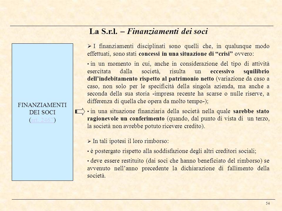 54 La S.r.l. – Finanziamenti dei soci FINANZIAMENTI DEI SOCI (art. 2467)art. 2467 I finanziamenti disciplinati sono quelli che, in qualunque modo effe