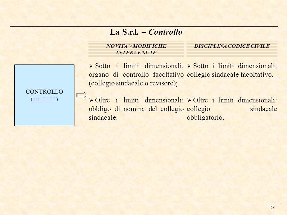 59 DISCIPLINA CODICE CIVILENOVITA / MODIFICHE INTERVENUTE CONTROLLO (art. 2477)art. 2477 La S.r.l. – Controllo Sotto i limiti dimensionali: organo di