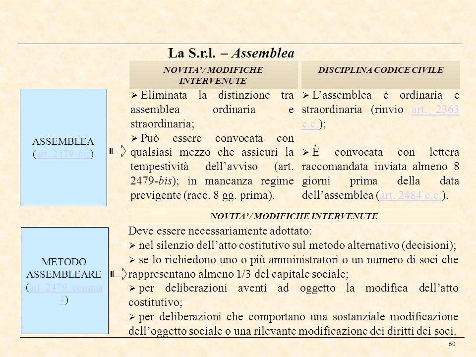 60 La S.r.l. – Assemblea ASSEMBLEA (art. 2479-bis)art. 2479-bis DISCIPLINA CODICE CIVILENOVITA / MODIFICHE INTERVENUTE Eliminata la distinzione tra as