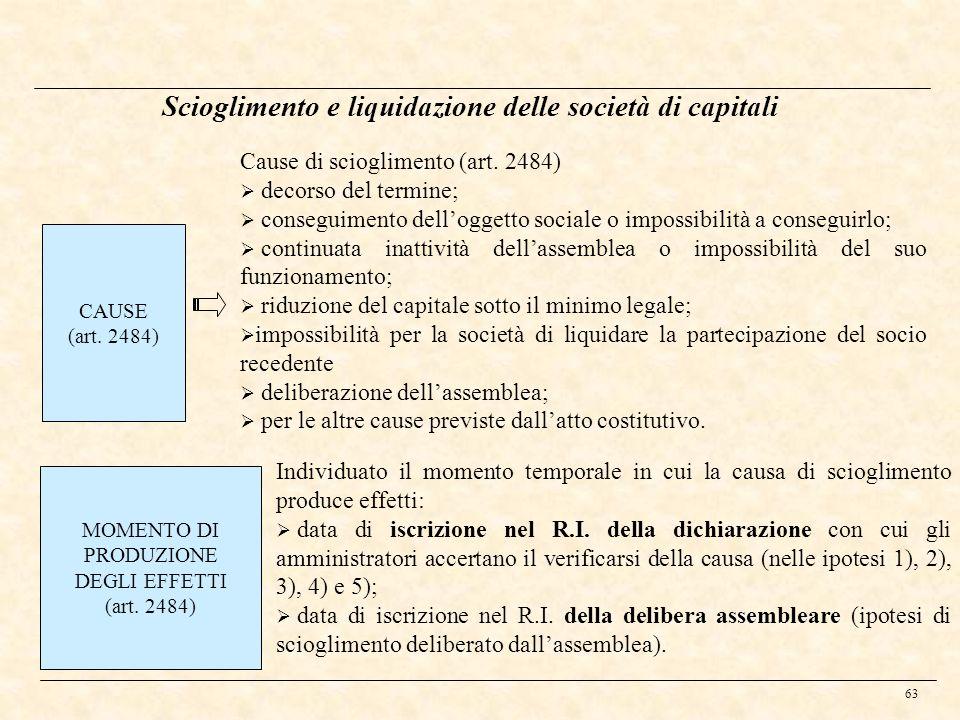 63 Scioglimento e liquidazione delle società di capitali CAUSE (art. 2484) Cause di scioglimento (art. 2484) decorso del termine; conseguimento dellog