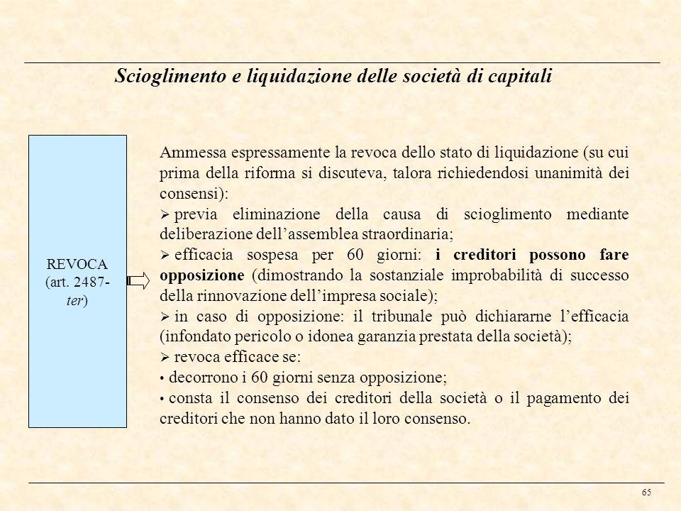 65 Scioglimento e liquidazione delle società di capitali REVOCA (art. 2487- ter) Ammessa espressamente la revoca dello stato di liquidazione (su cui p