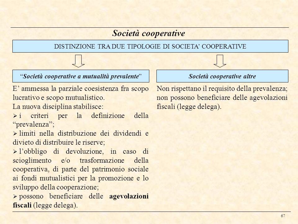 67 Società cooperative DISTINZIONE TRA DUE TIPOLOGIE DI SOCIETA COOPERATIVE E ammessa la parziale coesistenza fra scopo lucrativo e scopo mutualistico