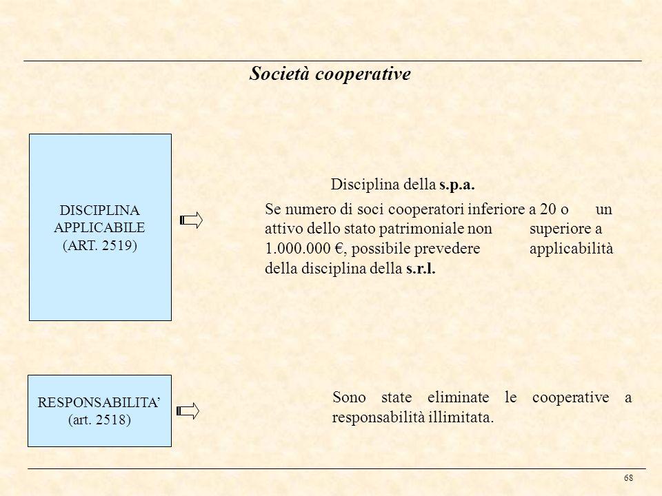 68 Società cooperative DISCIPLINA APPLICABILE (ART. 2519) Disciplina della s.p.a. Se numero di soci cooperatori inferiore a 20 o un attivo dello stato