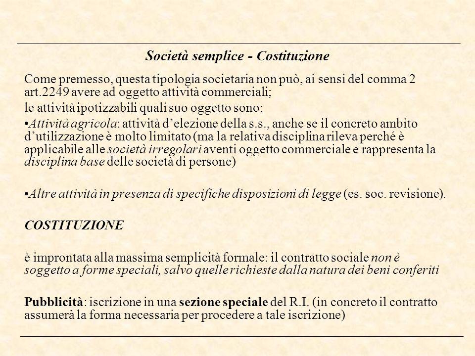 Società semplice - Costituzione Come premesso, questa tipologia societaria non può, ai sensi del comma 2 art.2249 avere ad oggetto attività commercial