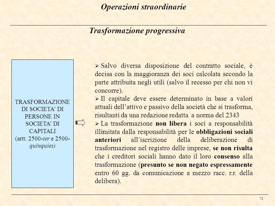 71 Trasformazione progressiva TRASFORMAZIONE DI SOCIETA DI PERSONE IN SOCIETA DI CAPITALI (artt. 2500-ter e 2500- quinquies) Salvo diversa disposizion