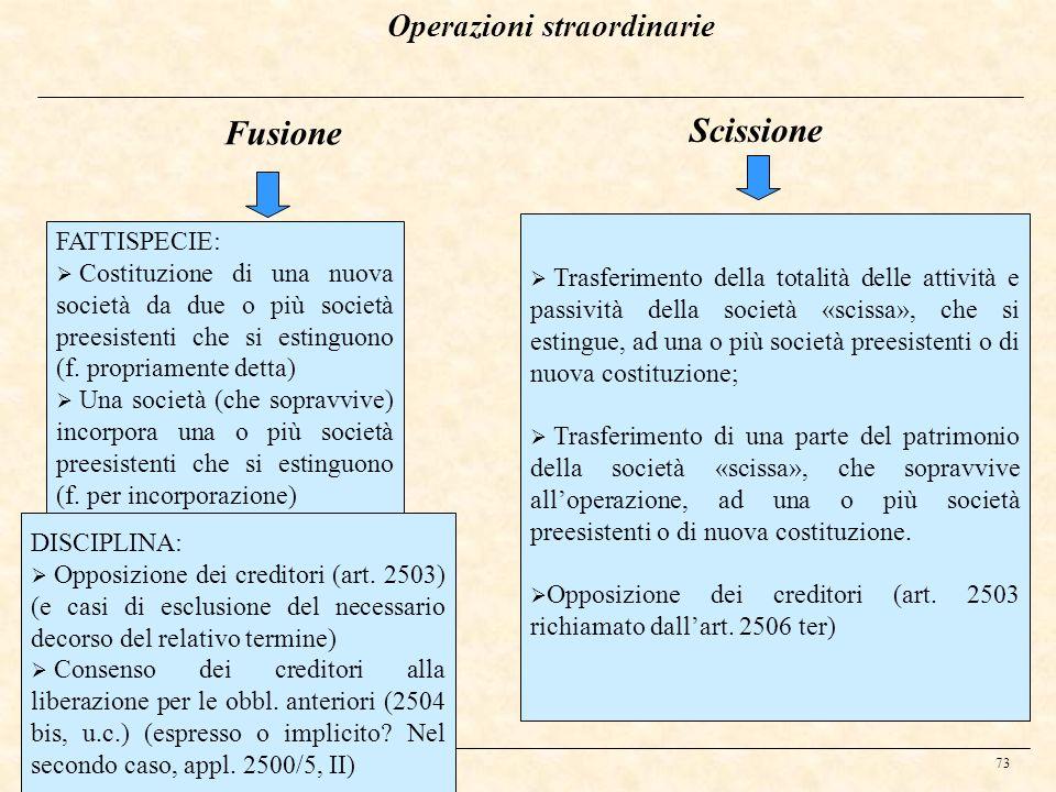 73 Fusione FATTISPECIE: Costituzione di una nuova società da due o più società preesistenti che si estinguono (f. propriamente detta) Una società (che
