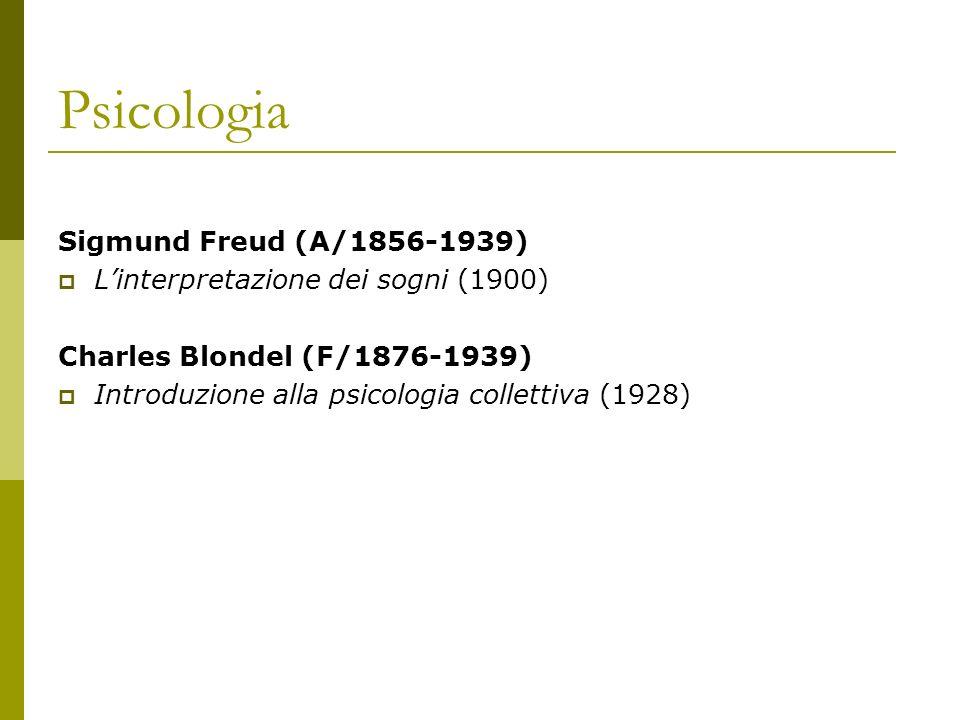 Psicologia Sigmund Freud (A/1856-1939) Linterpretazione dei sogni (1900) Charles Blondel (F/1876-1939) Introduzione alla psicologia collettiva (1928)