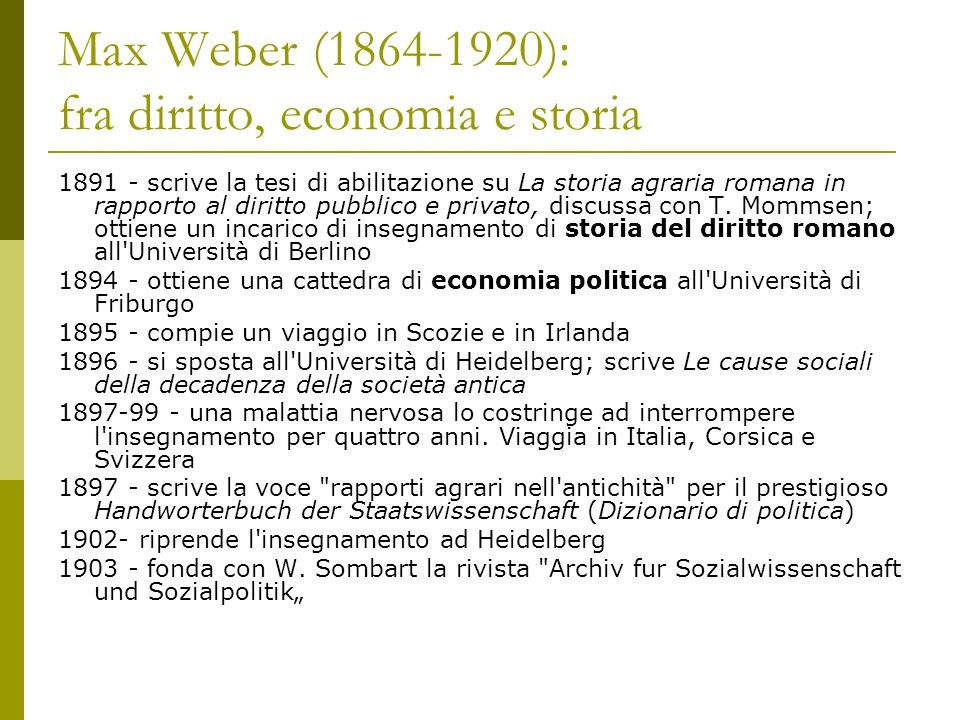 Max Weber (1864-1920): fra diritto, economia e storia 1891 - scrive la tesi di abilitazione su La storia agraria romana in rapporto al diritto pubblic