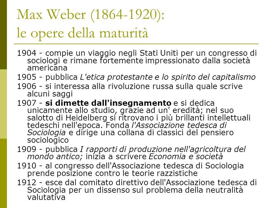 Max Weber (1864-1920): le opere della maturità 1904 - compie un viaggio negli Stati Uniti per un congresso di sociologi e rimane fortemente impression