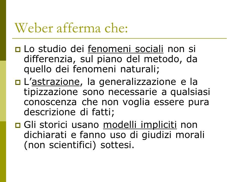 Weber afferma che: Lo studio dei fenomeni sociali non si differenzia, sul piano del metodo, da quello dei fenomeni naturali; Lastrazione, la generaliz