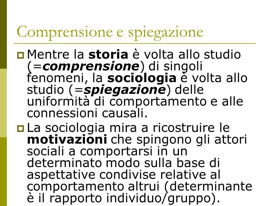Comprensione e spiegazione Mentre la storia è volta allo studio (=comprensione) di singoli fenomeni, la sociologia è volta allo studio (=spiegazione)