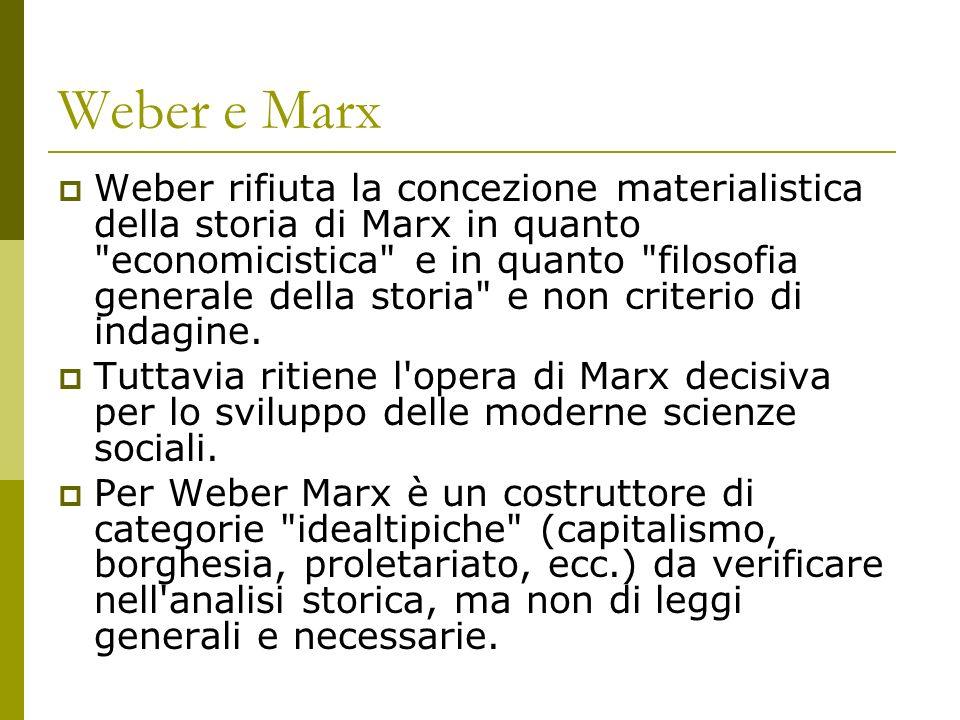 Weber e Marx Weber rifiuta la concezione materialistica della storia di Marx in quanto