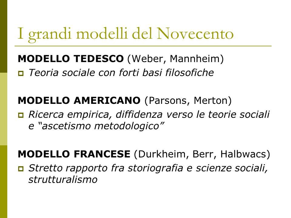 I grandi modelli del Novecento MODELLO TEDESCO (Weber, Mannheim) Teoria sociale con forti basi filosofiche MODELLO AMERICANO (Parsons, Merton) Ricerca