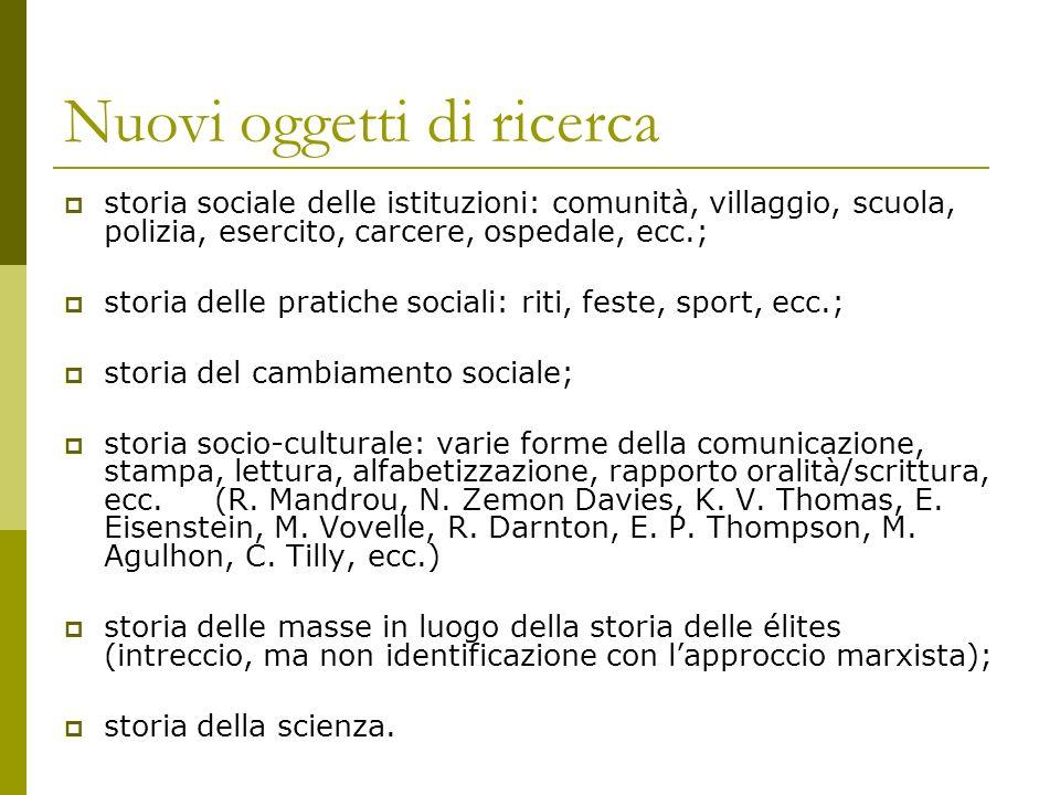 Nuovi oggetti di ricerca storia sociale delle istituzioni: comunità, villaggio, scuola, polizia, esercito, carcere, ospedale, ecc.; storia delle prati