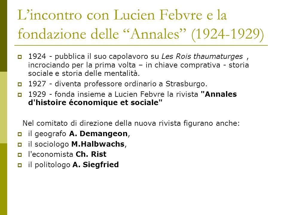 Lincontro con Lucien Febvre e la fondazione delle Annales (1924-1929) 1924 - pubblica il suo capolavoro su Les Rois thaumaturges, incrociando per la p