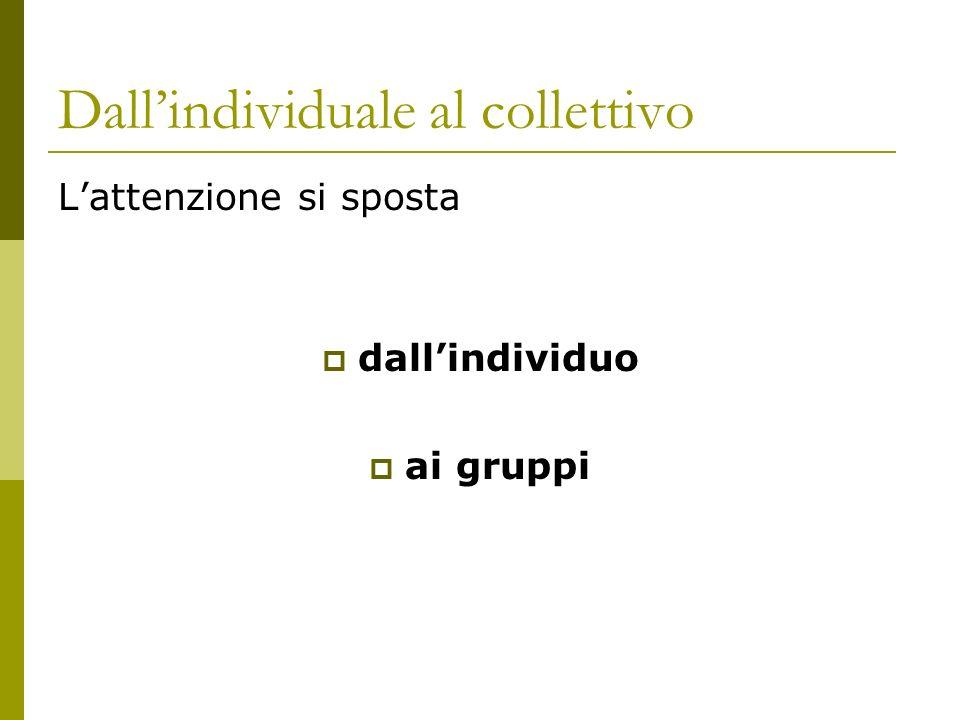 Dallindividuale al collettivo Lattenzione si sposta dallindividuo ai gruppi