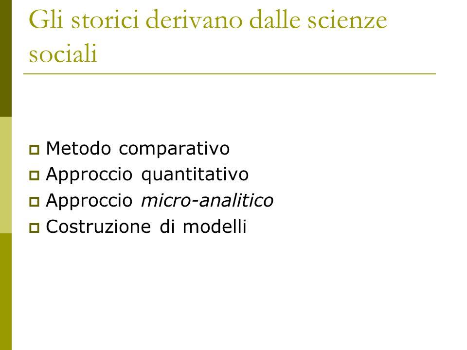 Gli storici derivano dalle scienze sociali Metodo comparativo Approccio quantitativo Approccio micro-analitico Costruzione di modelli